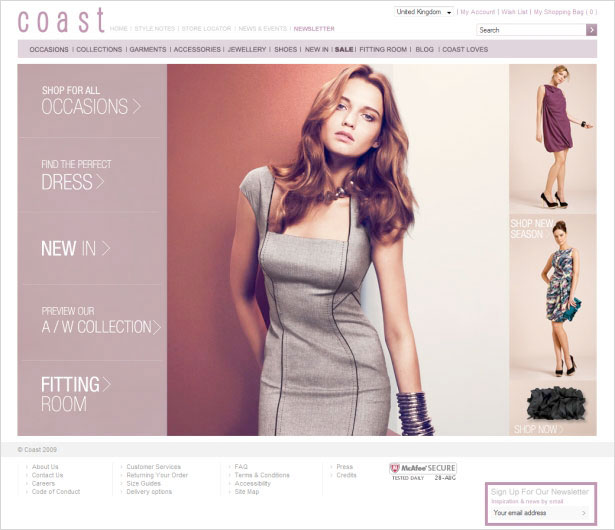 clothing store web design