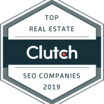 Clutch award icon for top real estate seo company 2019
