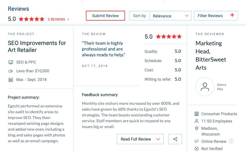 Egochi Real Estate SEO Reviews on Clutch Website